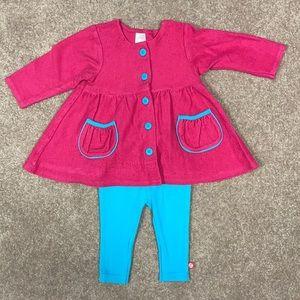 Zutano 6 month coat like top and leggings